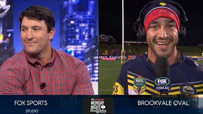 JT and Hindy going at after the Manly-Cowboys clash.